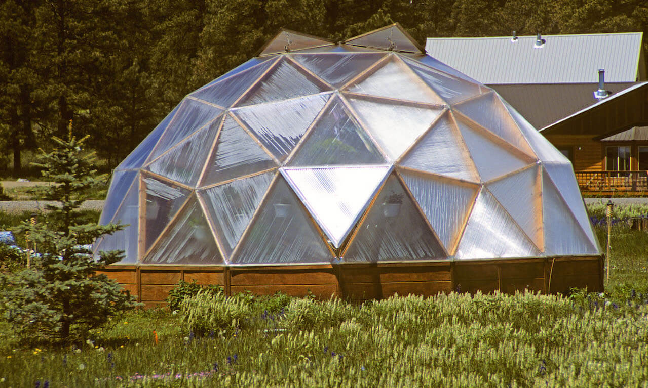 Hothouse made of wood and plastic in shape of geodesic dome, Colorado, USA
