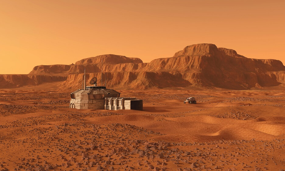 Artist's rendition of a manned habitat resting on the rocky and desolate surface of Mars. In the background is a mesa and on the right a manned rover.