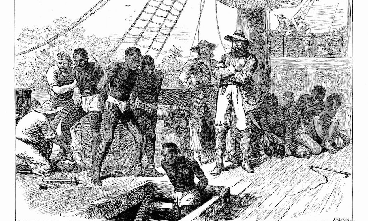 Slaves boarding a ship