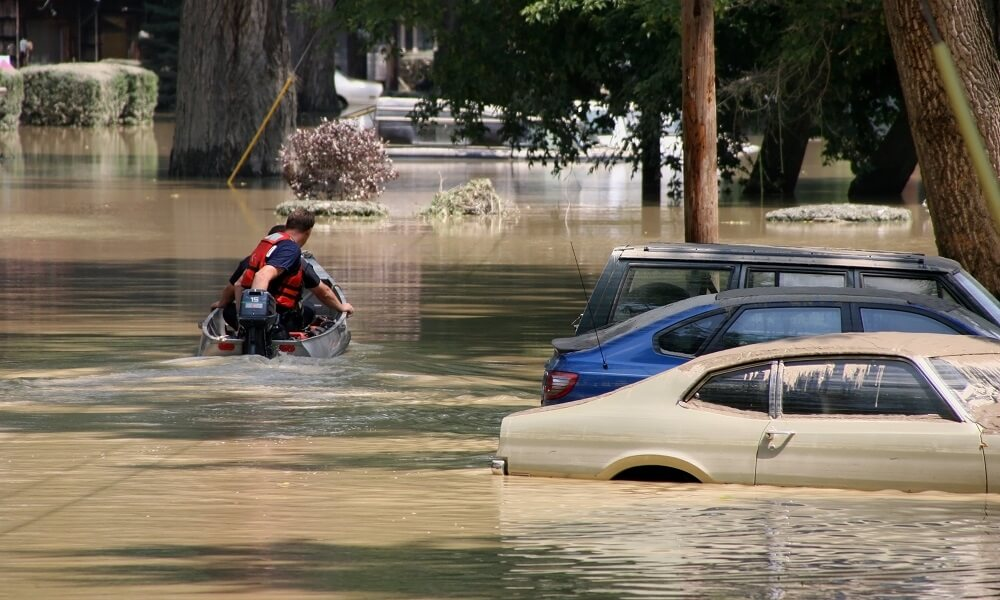 Rescue boat on a flooded city street