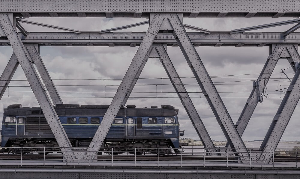 Historical railway bridge over the river Vistula, Tczew, Poland