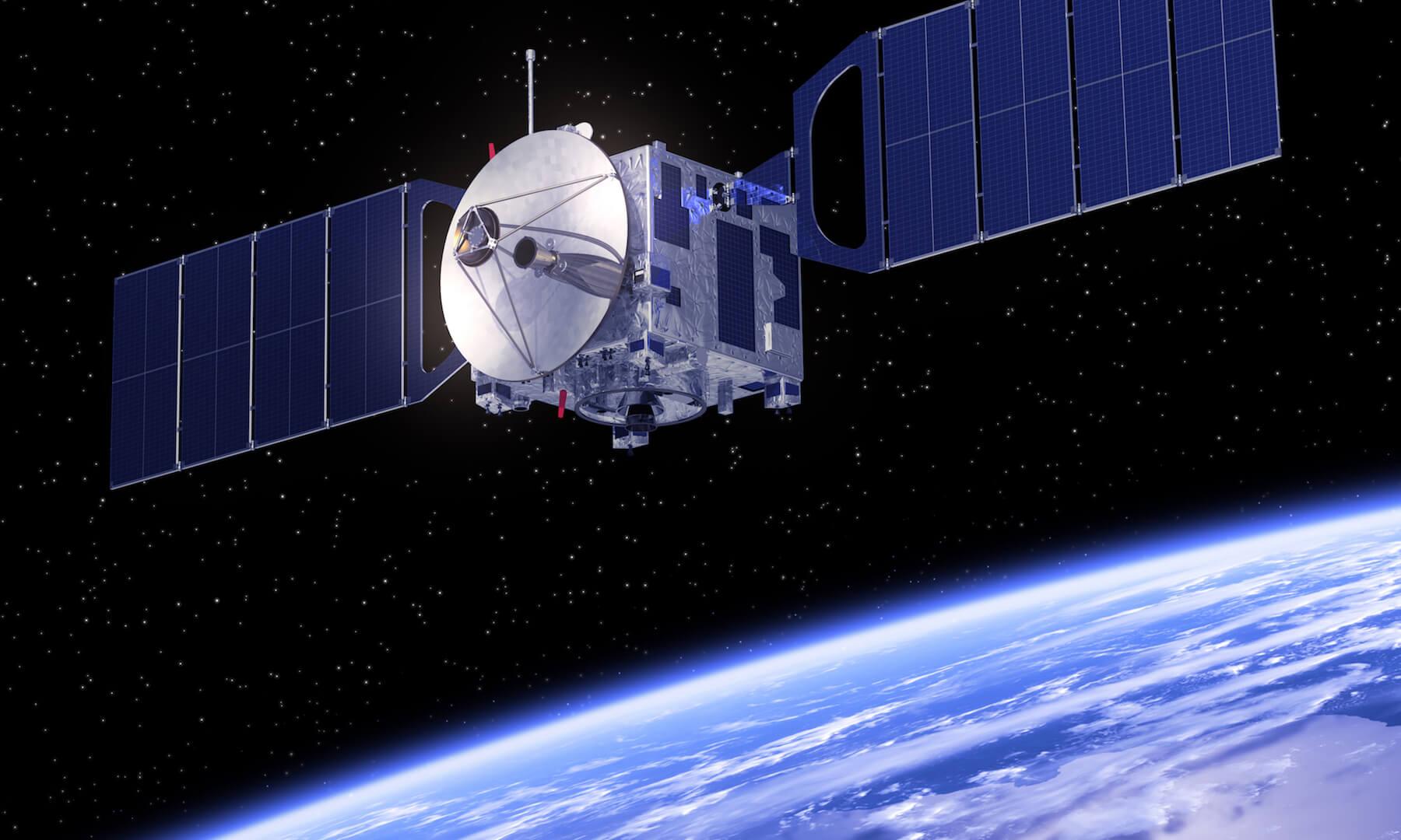 Satellite orbiting Earth; 3D scene