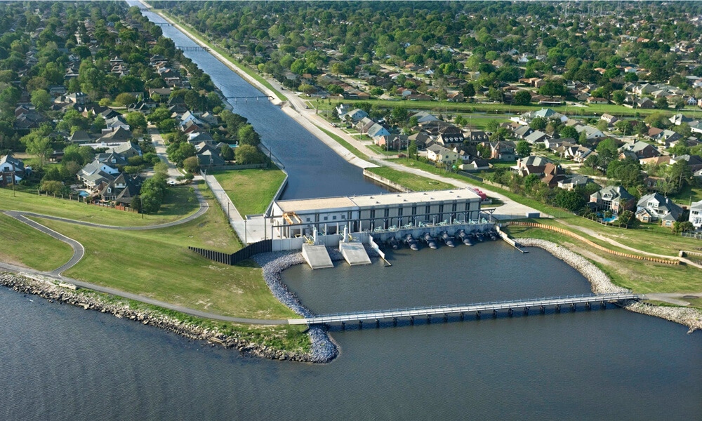 Aerial view of a water pumping station near New Orleans
