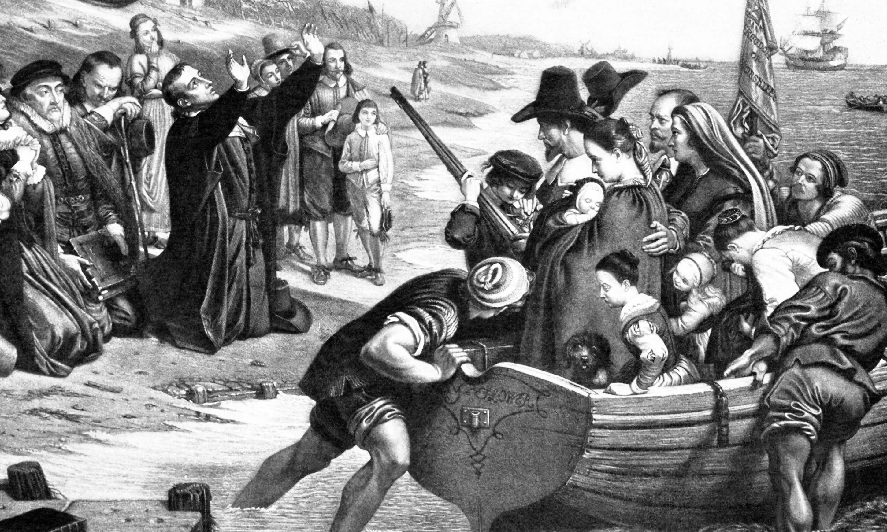 "This 1901 illustration shows Pilgrims praying before setting sail from Leiden. The name on the skiff reads ""Mayflower."""