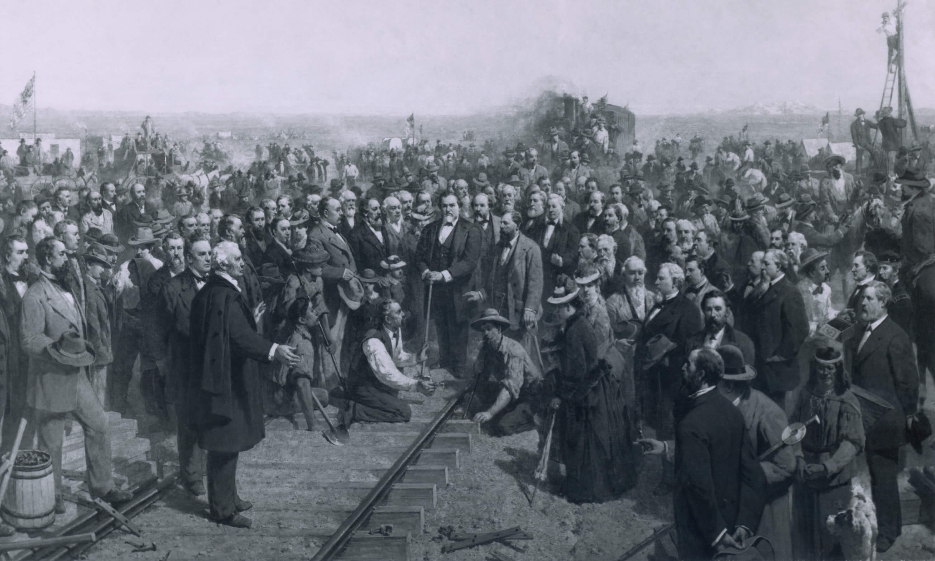 THE LAST SPIKE 1881 a painting by Thomas Hill depicts the ceremony held at Promontory Point Utah on May 10 1869 marking the completion of the transcontinental railroad.
