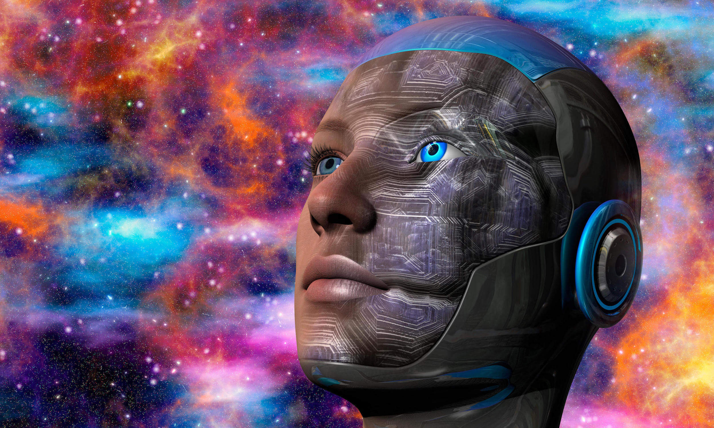 Cyborg woman with deep space background