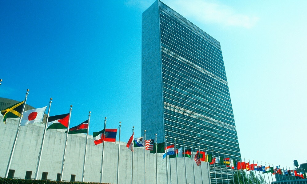 United Nations Building with flags in New York City, New York, USA