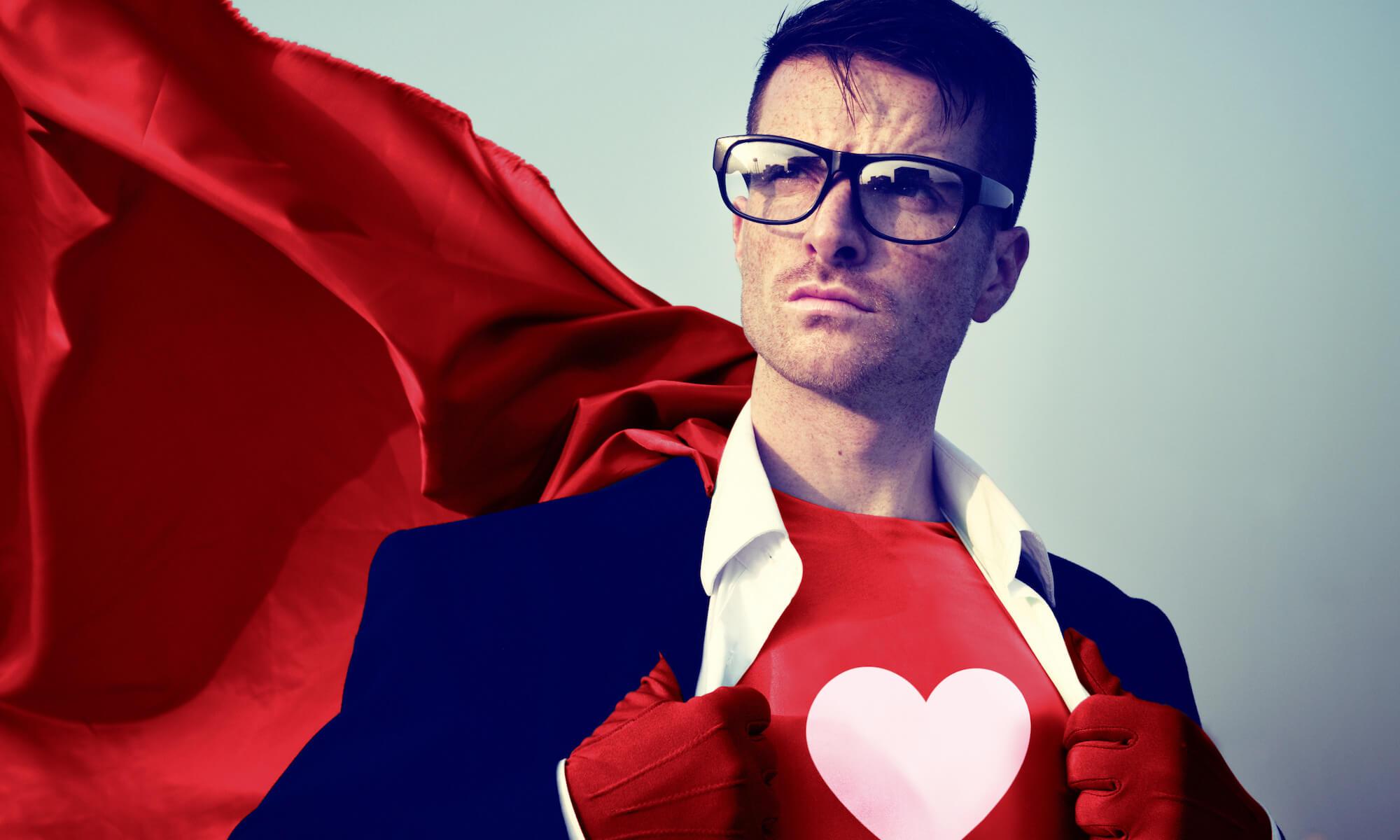 Strong superhero businessman heart concepts