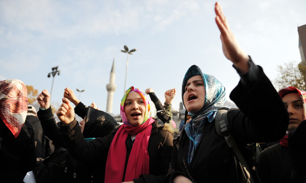 Muslim demonstrators protesting in Istanbul, Turkey