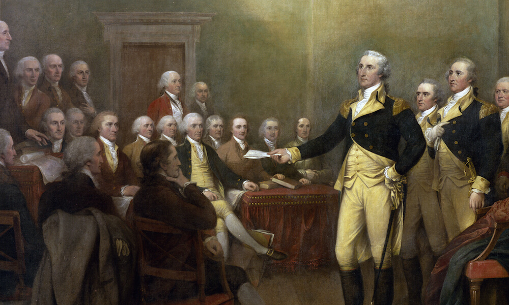 Painting of General George Washington resigning his commission