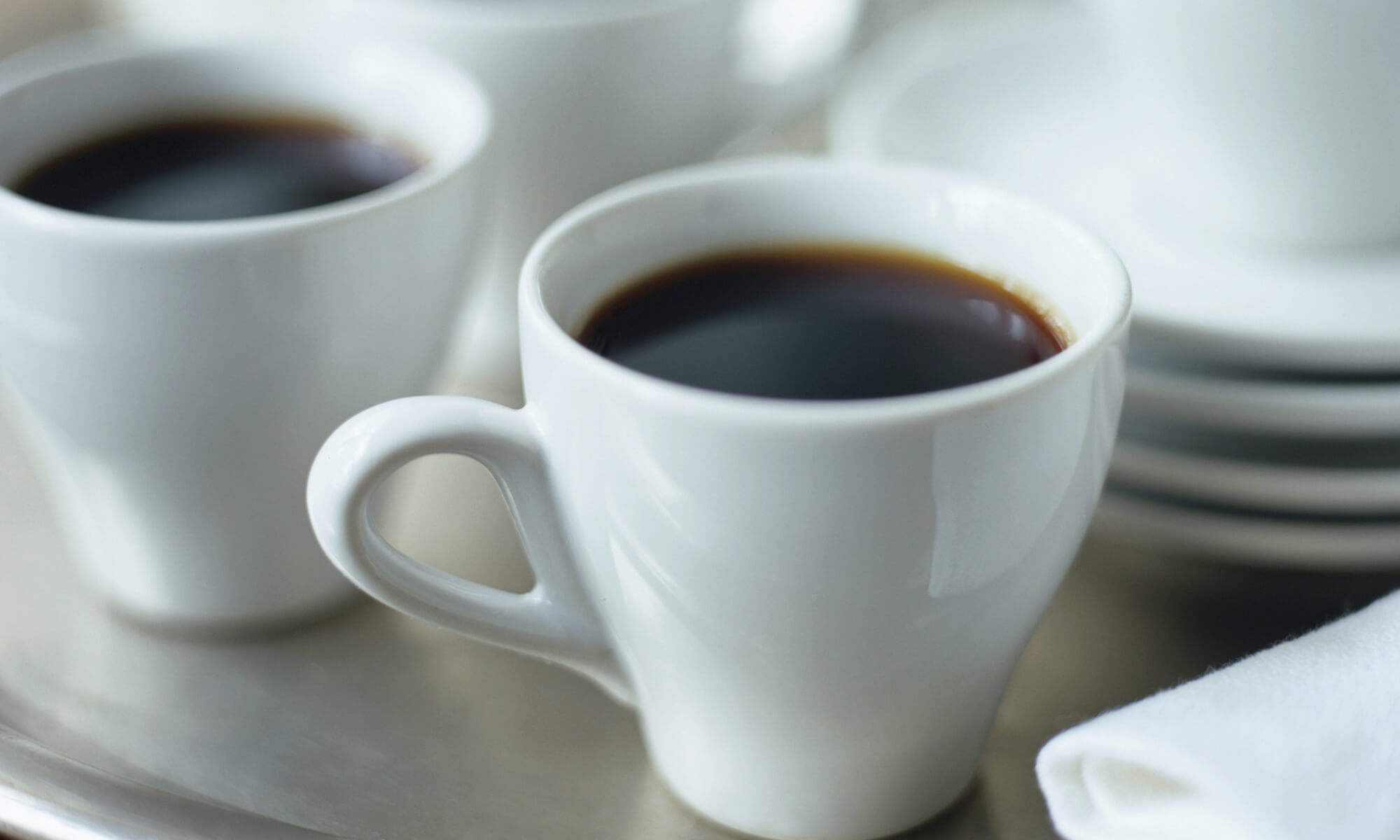 Cups of Espresso on silver tray