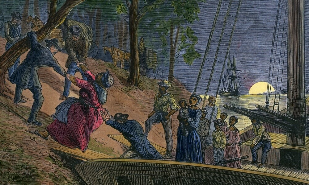 Fifteen fugitive slaves arriving in Philadelphia along the banks of the Schuylkill River in July 1856, Engraving from William Still's history UNDERGROUND RAILROAD 1872 with modern watercolor.