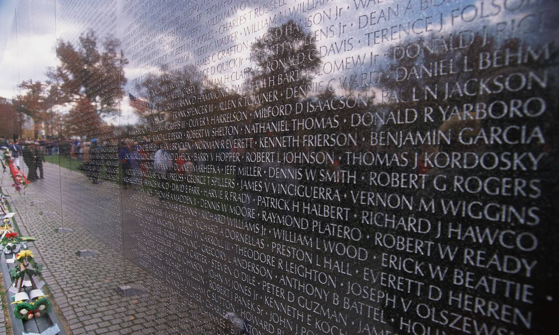 Detail of Vietnam Veterans Memorial in Washington, DC