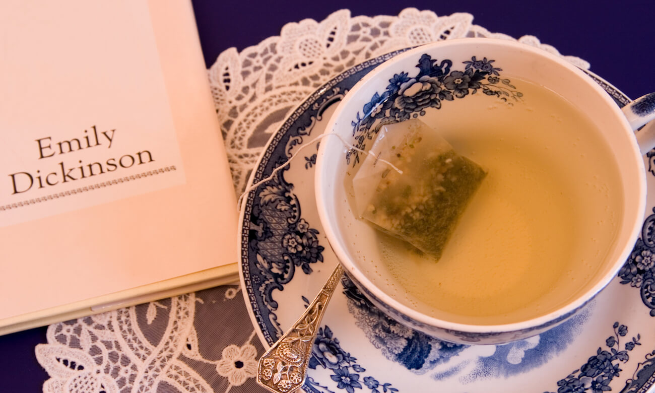 A spot of afternoon tea with a little light reading in the form of Emily Dickinson poetry