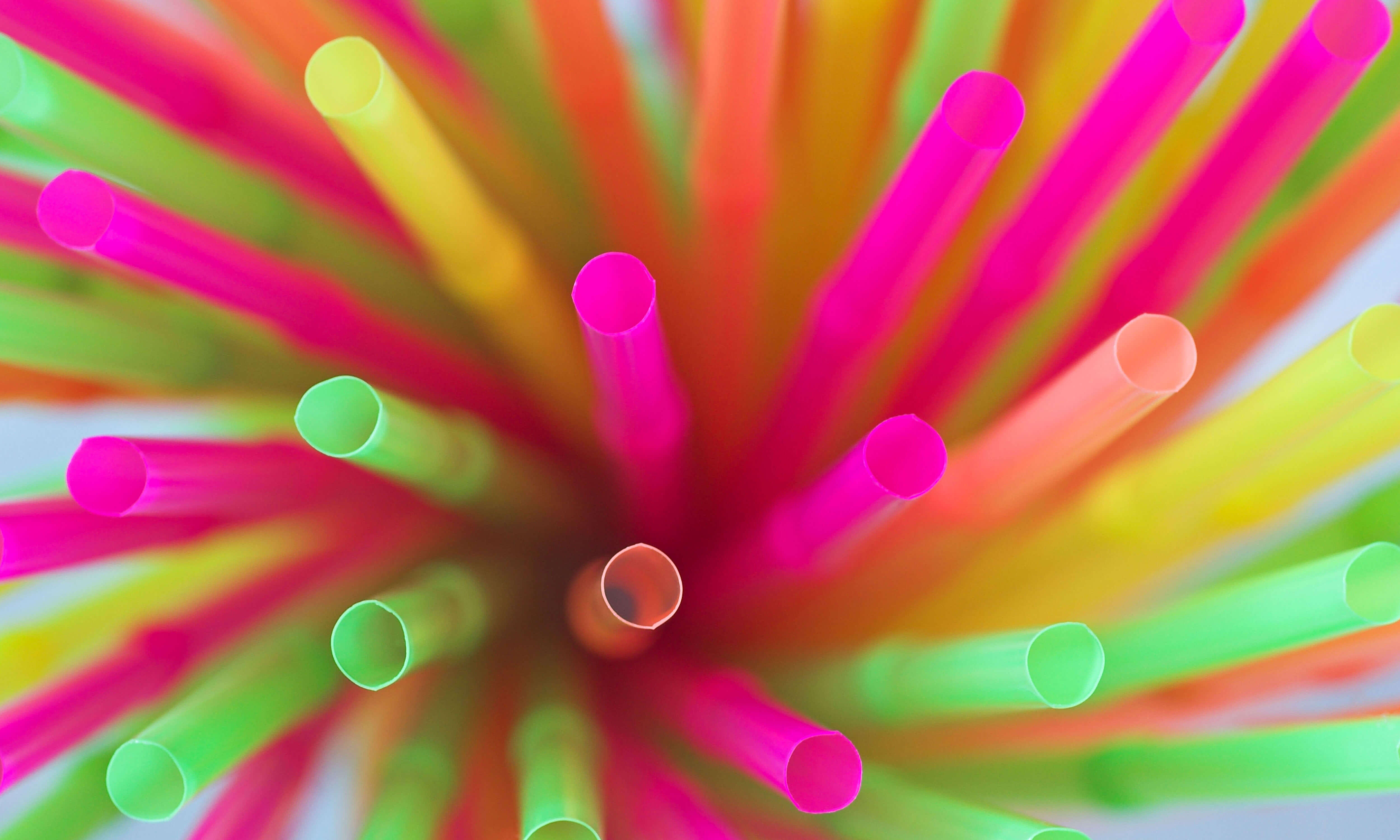 Elevated view of colourful straws