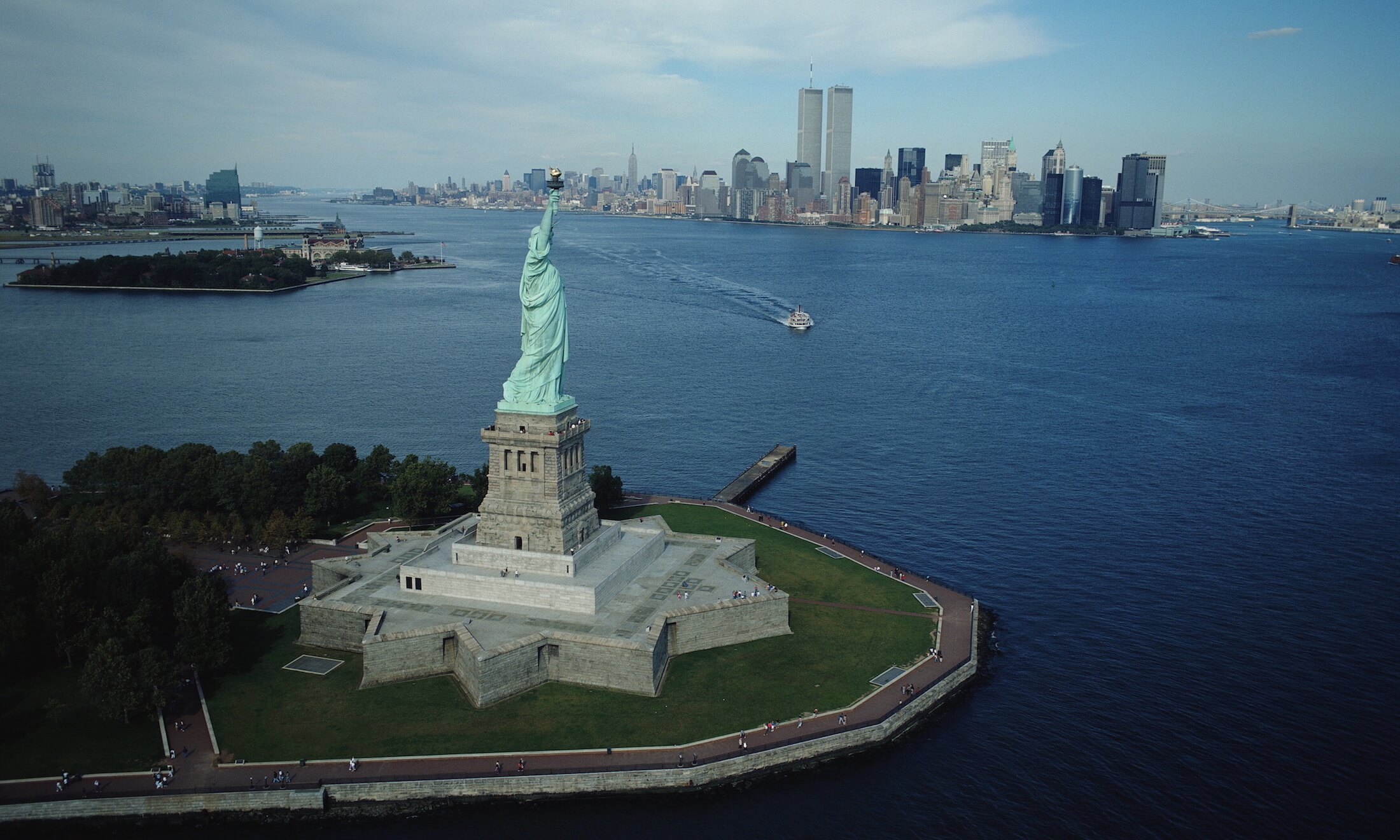 Statue of Liberty, with Ellis Island and Manhattan