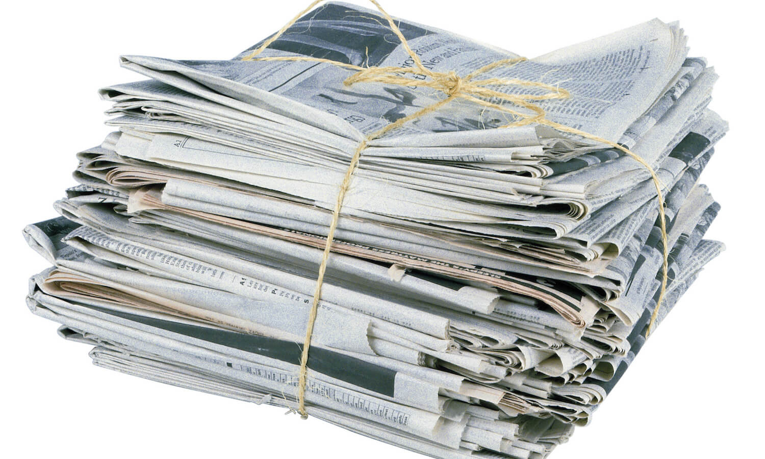 Tied bundle of newspapers