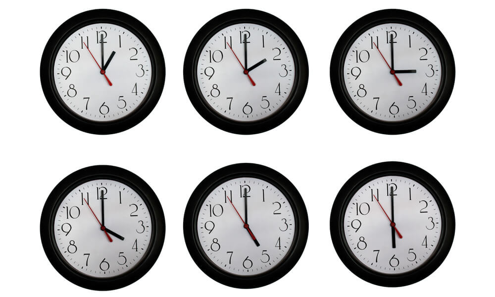 A set of clocks showing times from one to six o'clock in one hour increments