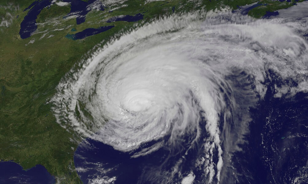 Satellite view of Hurricane Irene after it made landfall in Cape Lookout, North Carolina, August 27, 2011. Irene's outer bands are extended into New England