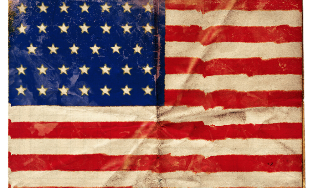 American Union flag: Flag of the USA at the time of the American Civil War with 34 stars, used July 4, 1861-July 3, 1863