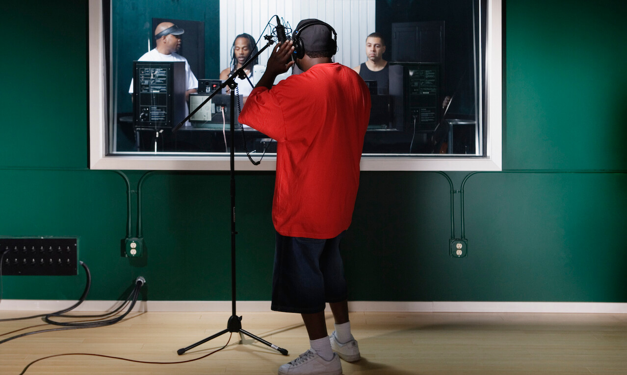 Musicians in a recording studio