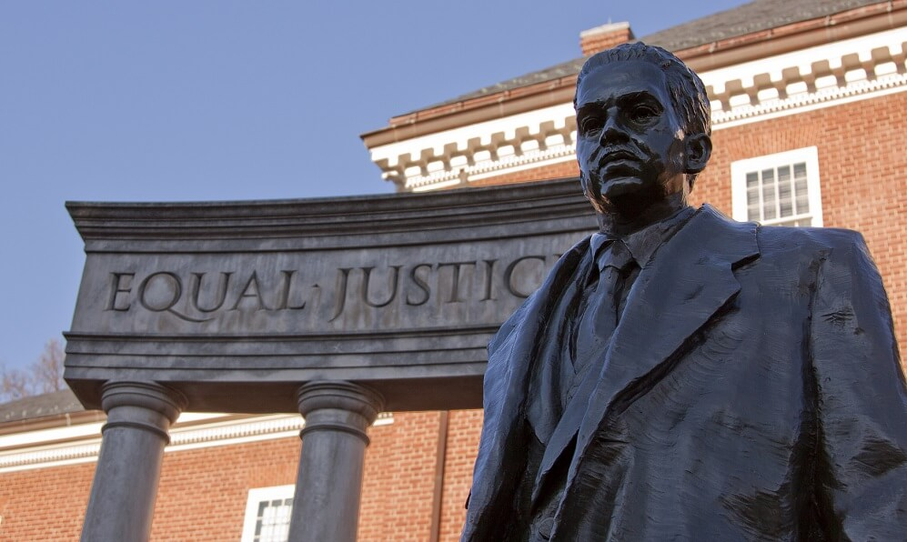 Bronze memorial statue of Thurgood Marshall in Lawyers' Mall across from the Maryland State House in Annapolis, MD.
