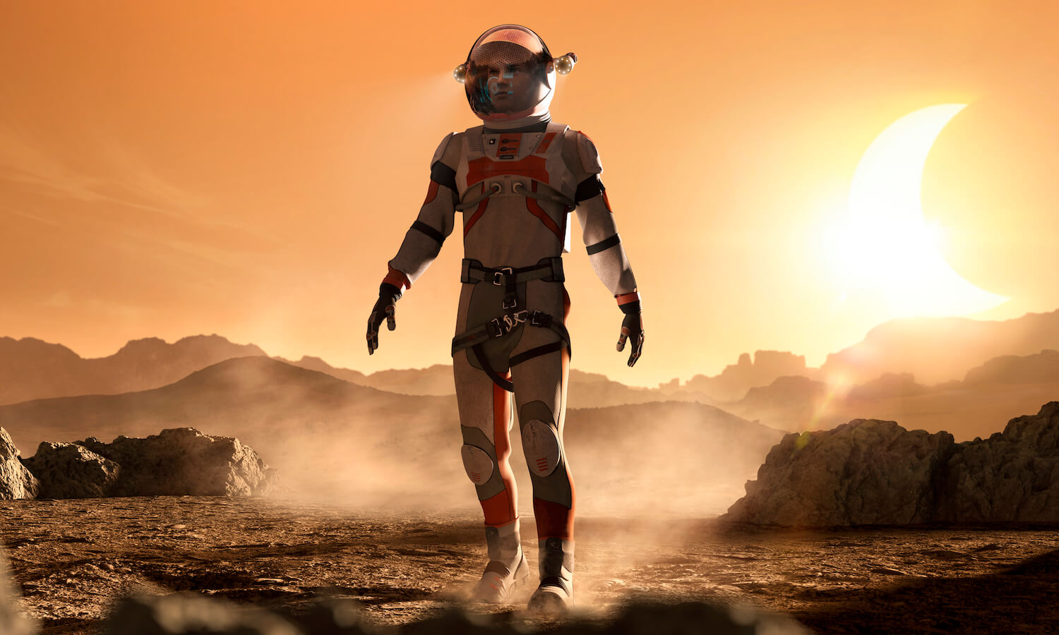 Astronaut walking through rocky martian landscape