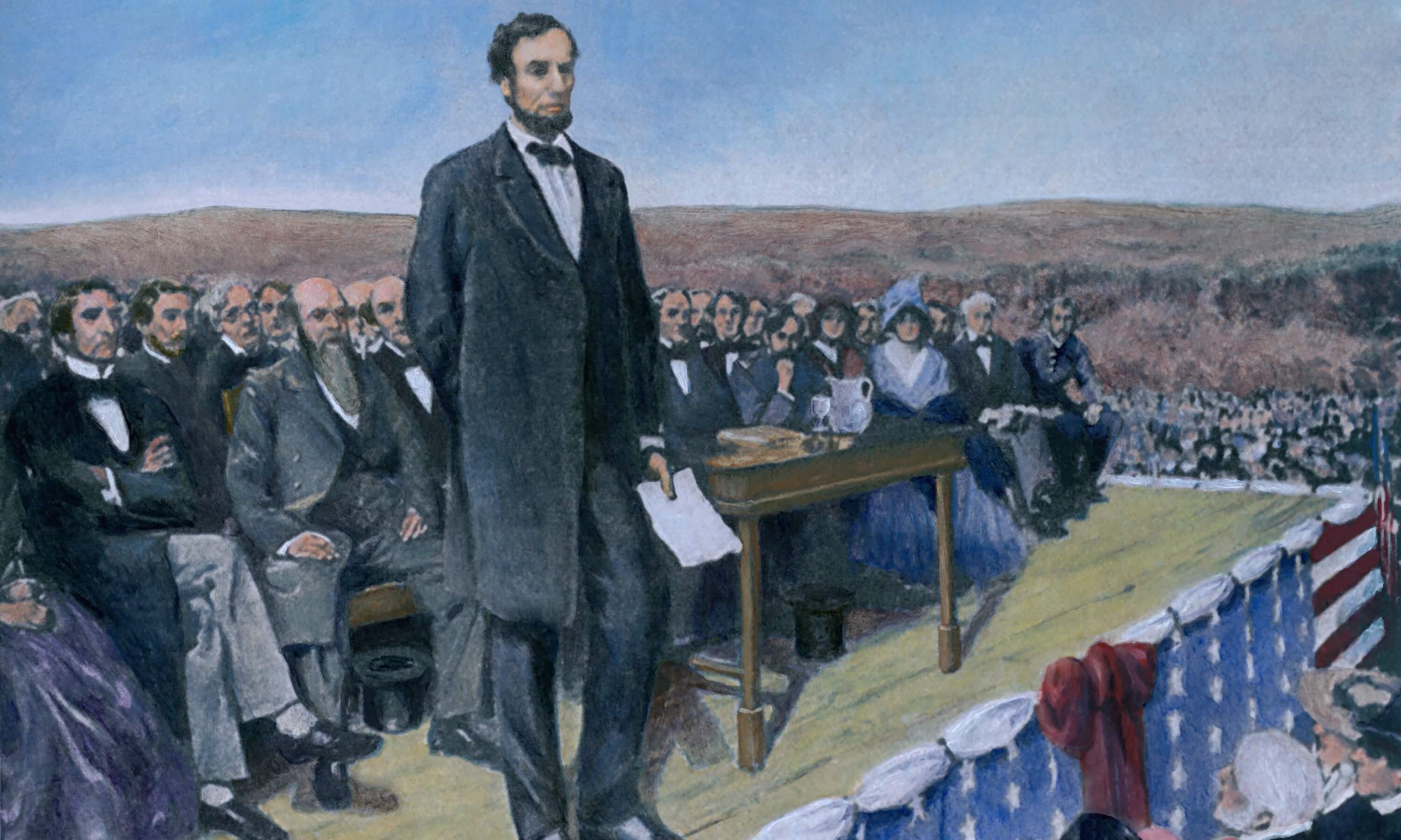 Abraham Lincoln (1809 -1865) delivering the Gettysburg Address during dedication ceremonies at the Soldiers' National Cemetery on November 19, 1863. 20th century print with modern color