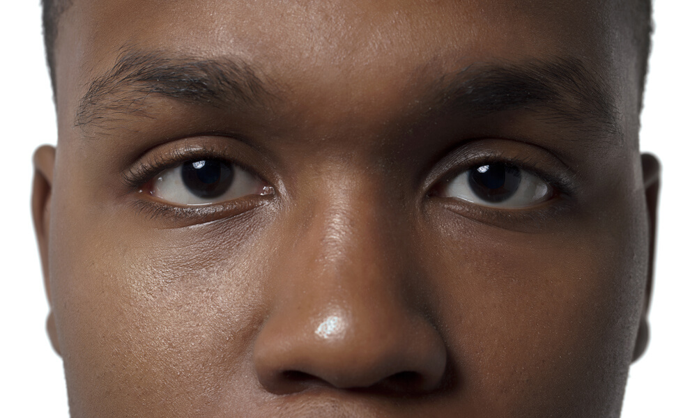 Close-up image of an African-American man's face