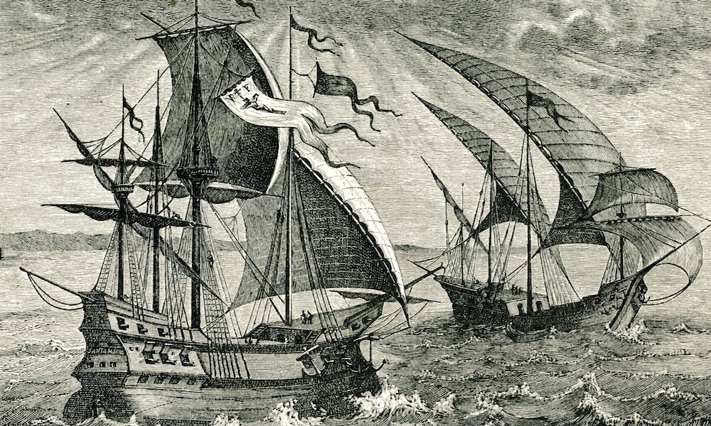 Engraving of Nina, Pinta, and Santa Maria, Columbus' ships