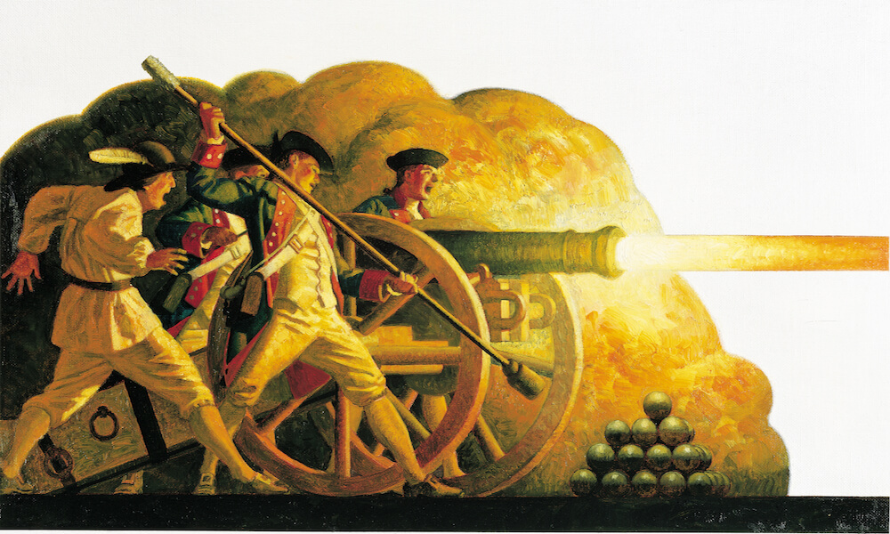 Revolutionary war soldiers with a cannon