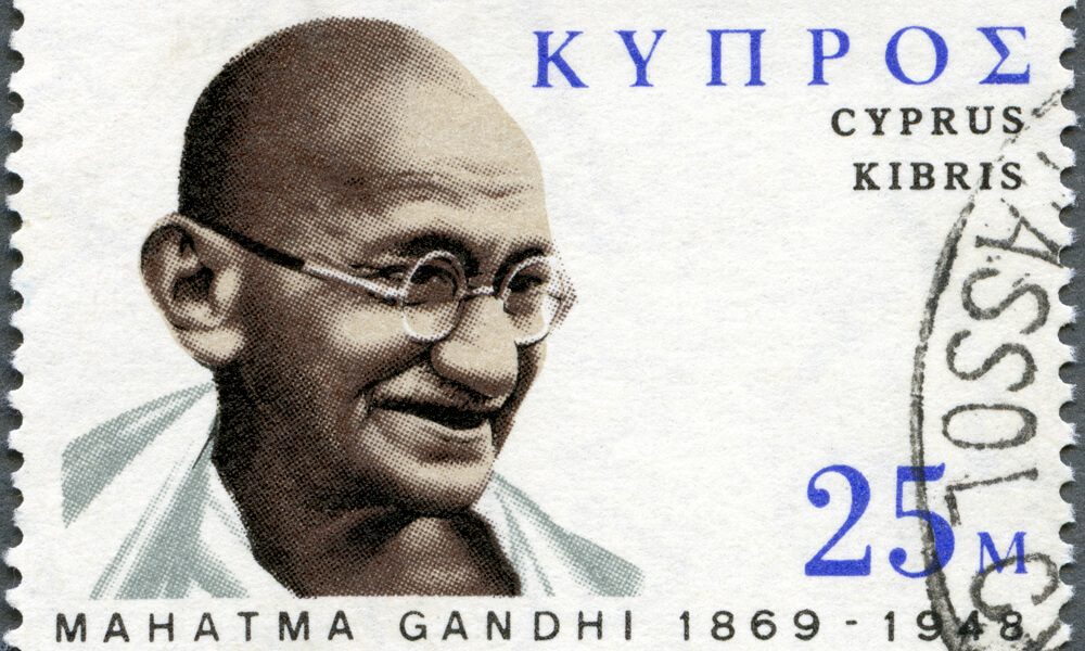 Stamp showing portrait of Mohandas Gandhi