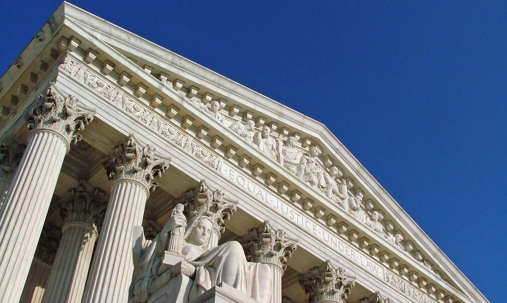 The United States Supreme Court, with the Contemplation of Justice statue