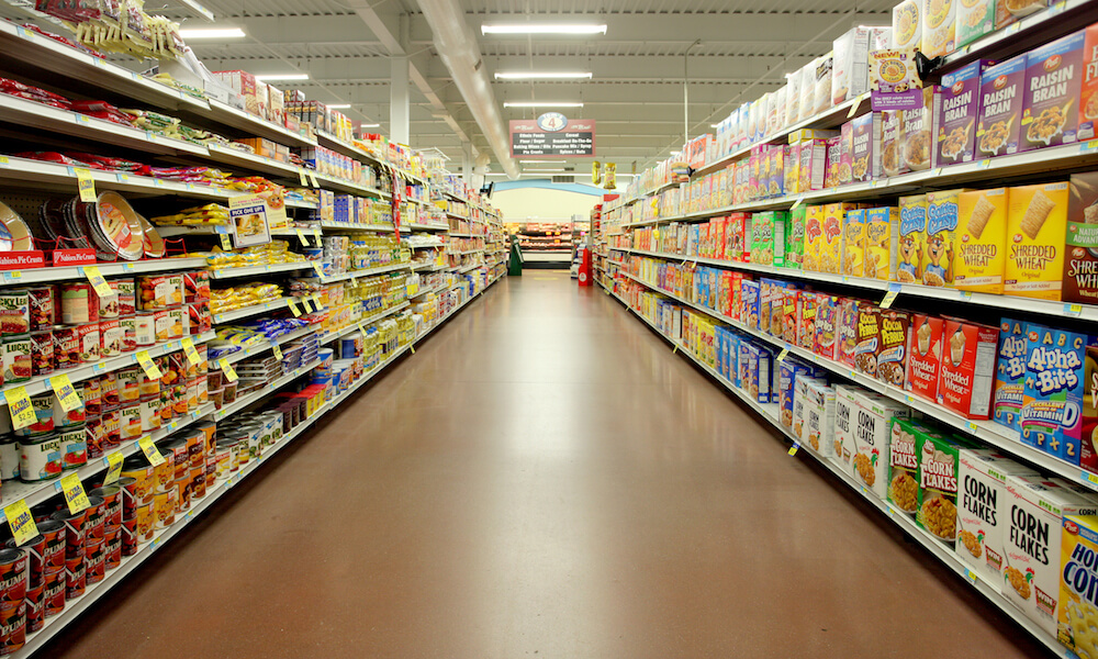 Aisle of grocery store in Iowa.
