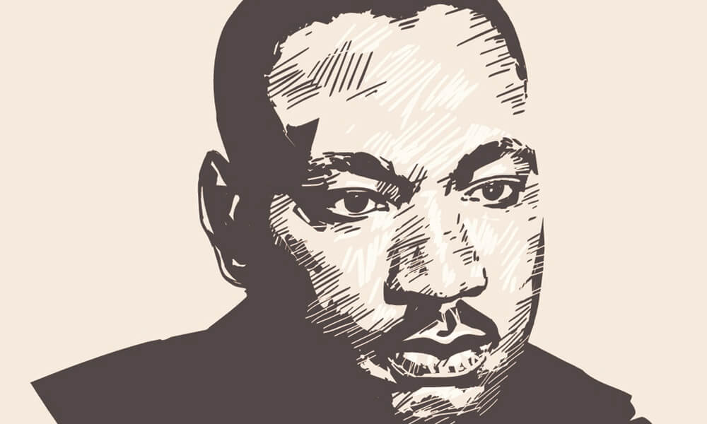 Hand drawn vector portrait of Martin Luther King Jr.