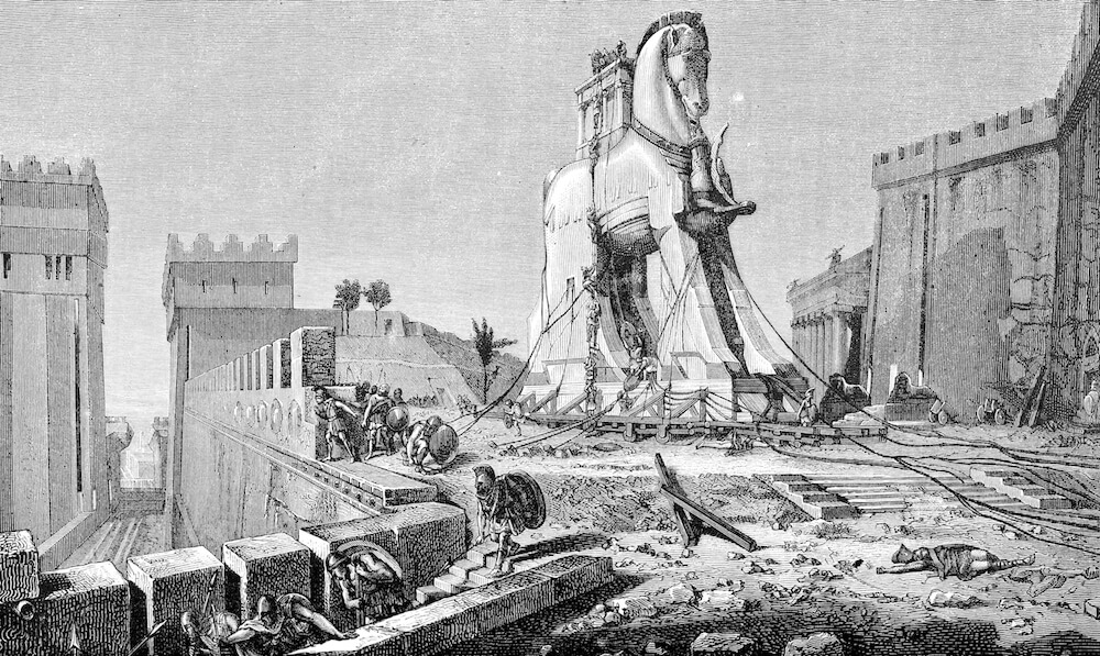 Steel engraving of trojan horse from 1875