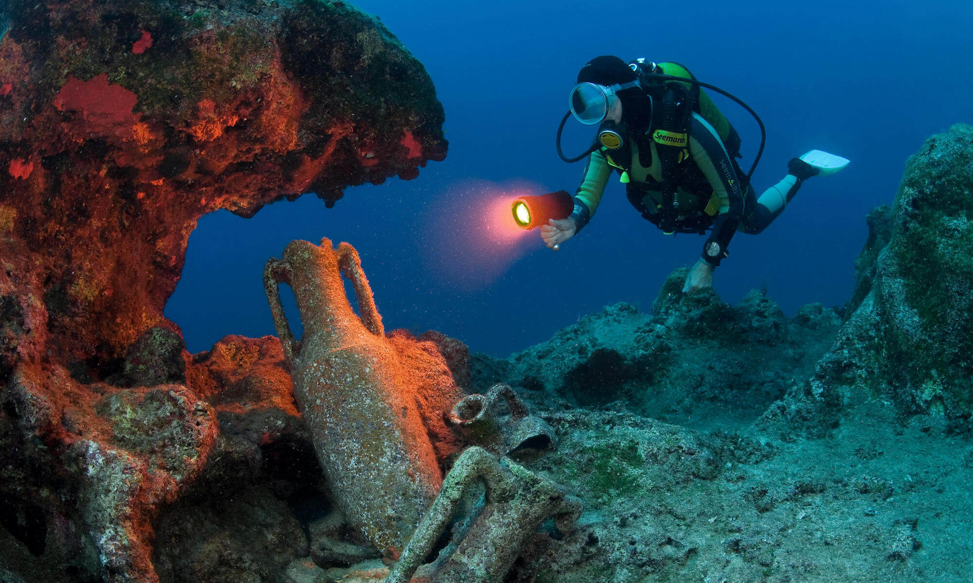 Scuba diver discovers old amphoras of 2nd century B.C., Lykia, Mediterranean sea, Turkey