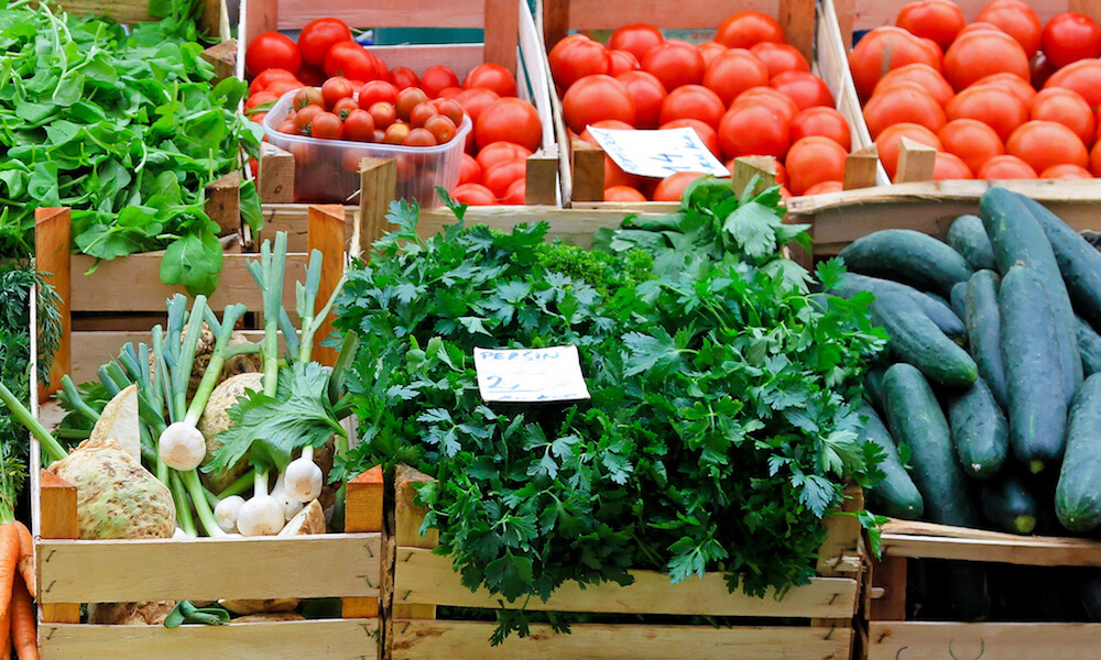 Fresh and organic vegetables at a farmers market