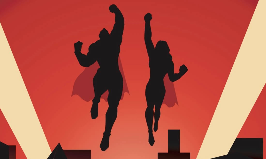 A retro style vector illustration of a couple of superhero flying upward, with city skyline in the background.