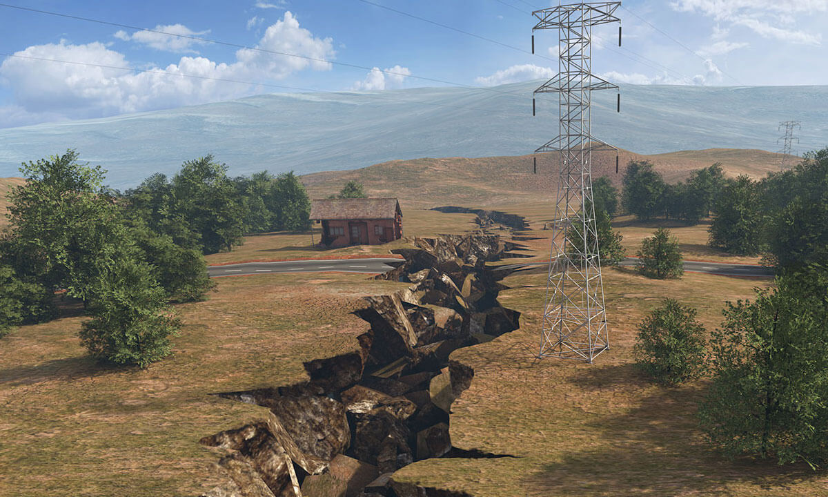 Photorealistic effect of an earthquake on ground in a rural area