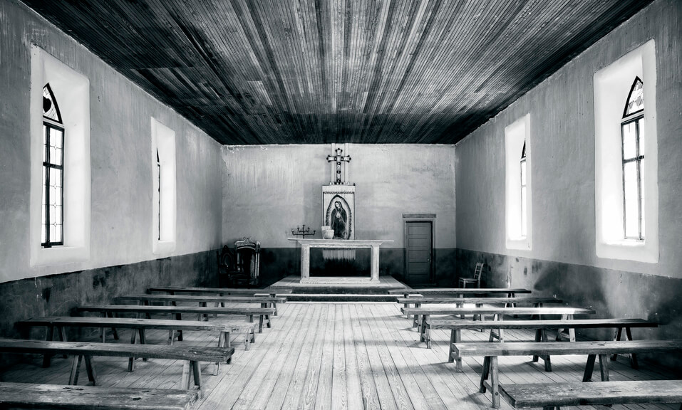 Interior of historic Santa Inez Church in Terlingua, Texas