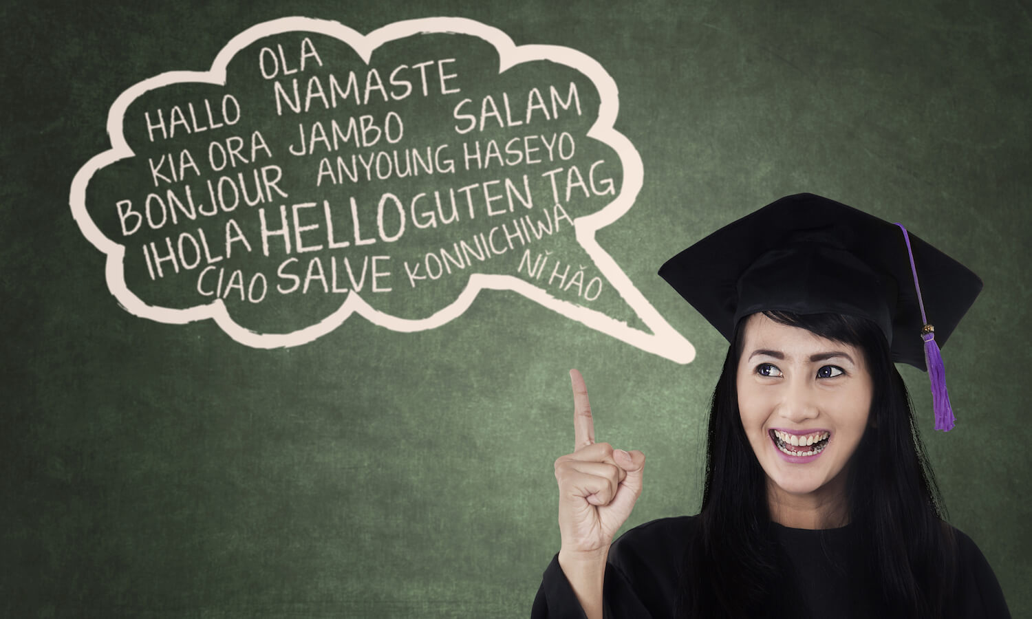 Female college student in gown speaks multi languages