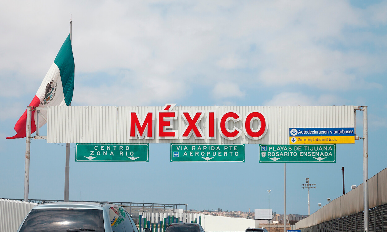A view of the highway entrance to Tijuana Baja California at the international US Border with Mexico in San Diego.