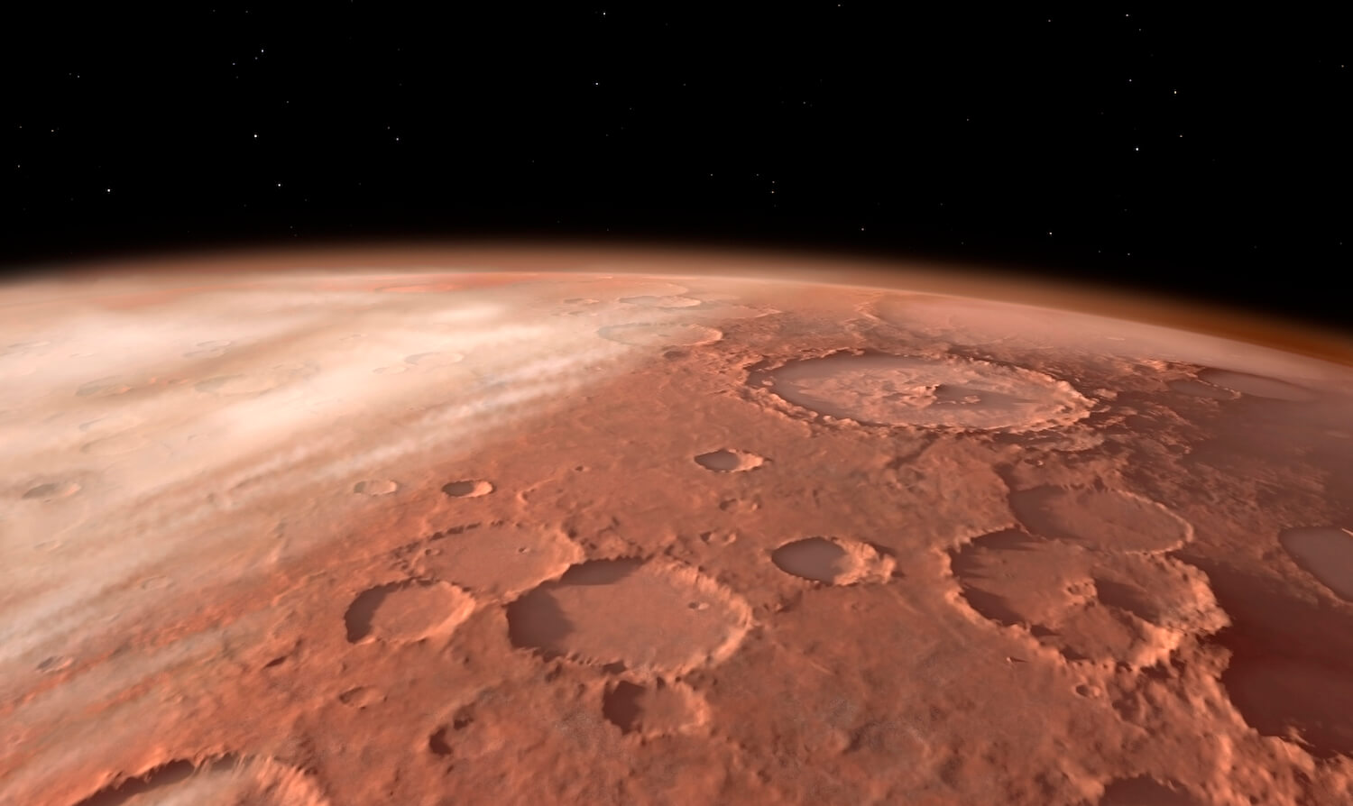 Heavily cratered highlands on the surface of Mars.
