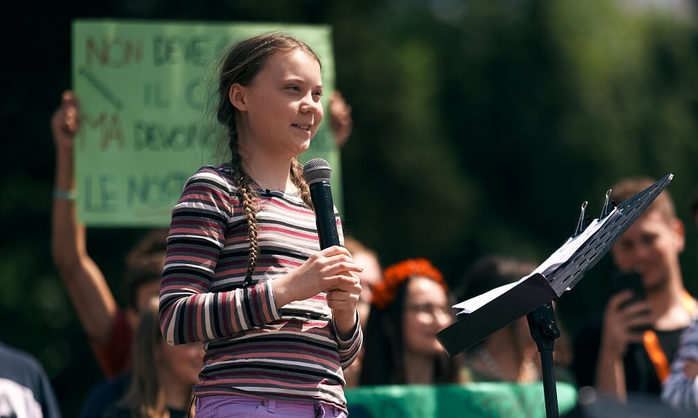 Greta Thunberg speaks in front of crowd
