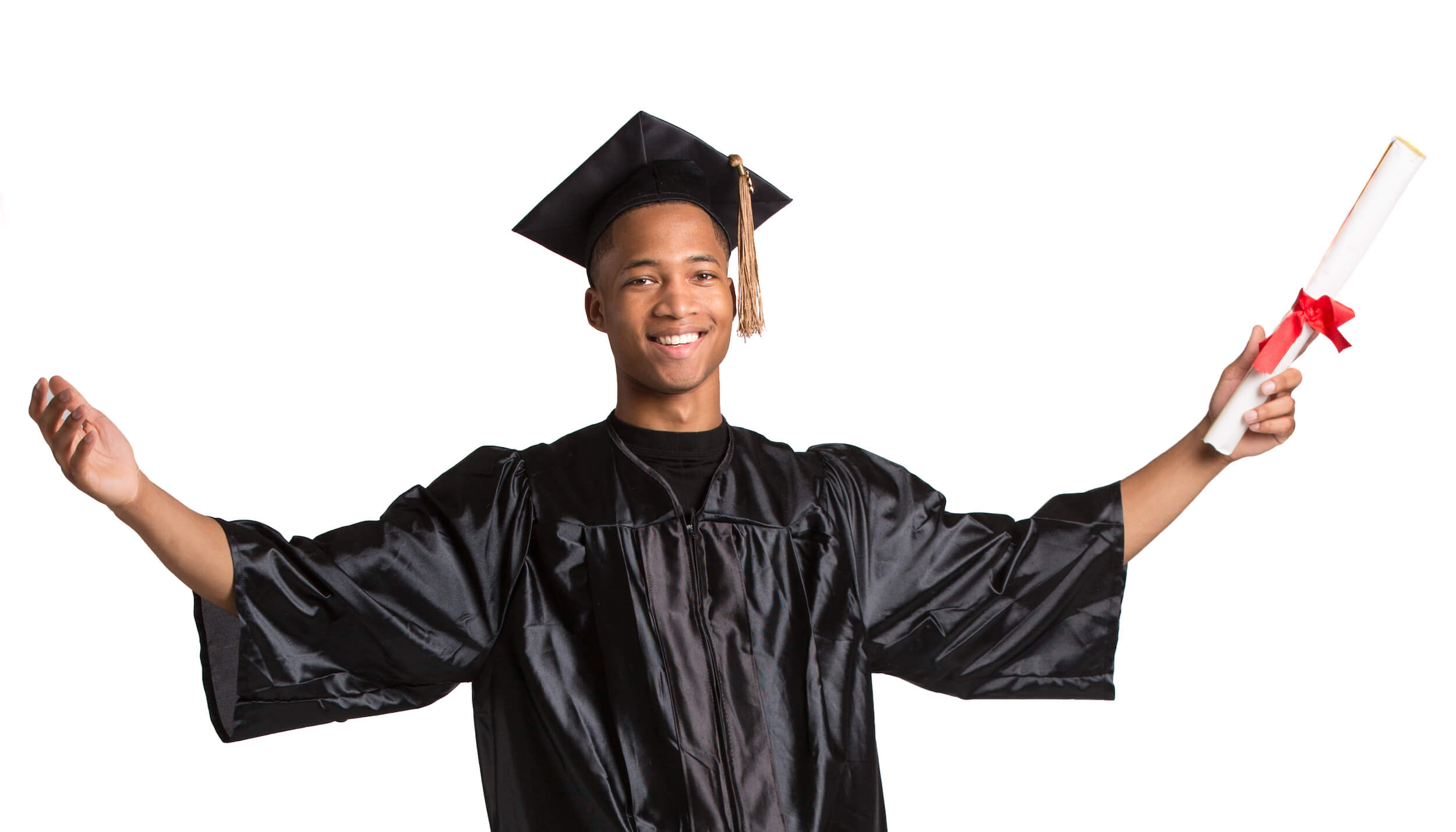 Excited young African American male student holding graduation certificate