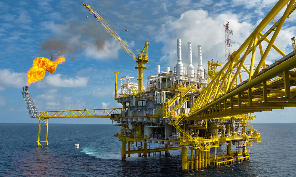 Oil and gas platform with gas burning, Power, energy