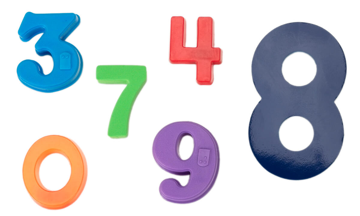 Multi-colored magnets representing various numbers