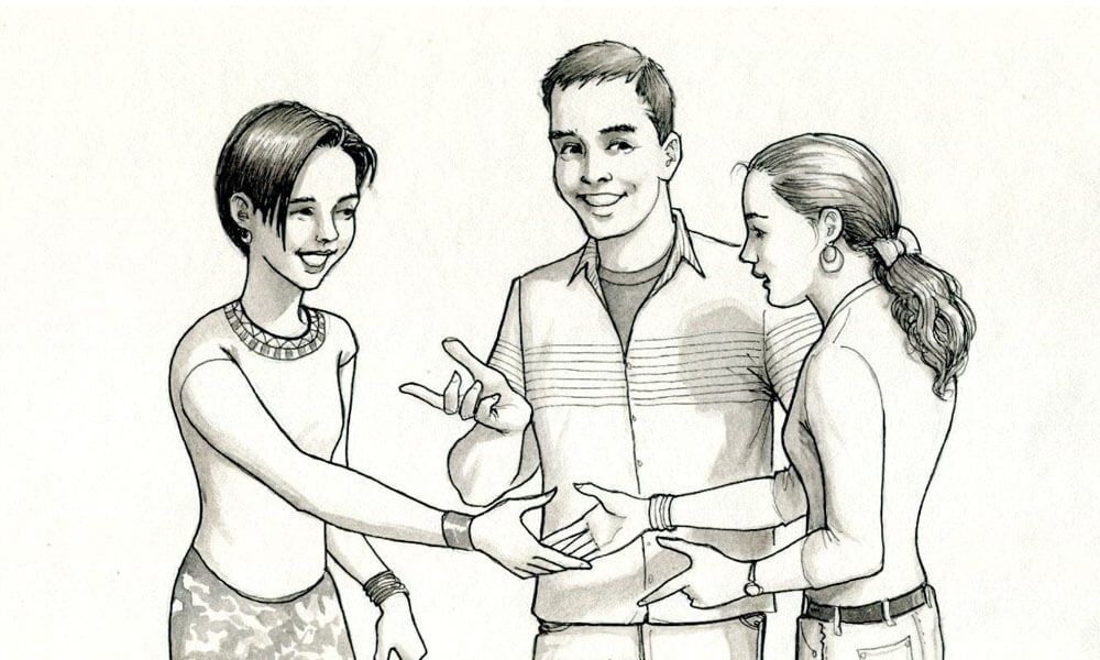 Illustration of two teen girls shaking hands with a teen boy introducing them to each other