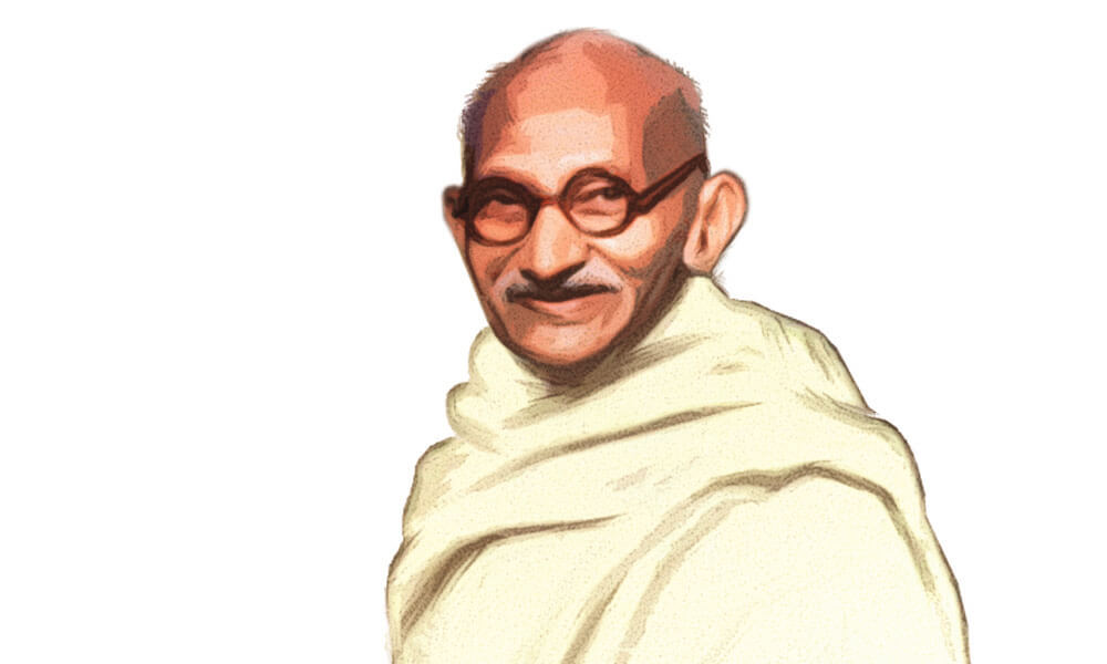 Illustration: portrait of Gandhi